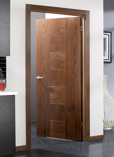 Catalonia walnut pre finished internal door for Designer interior doors uk