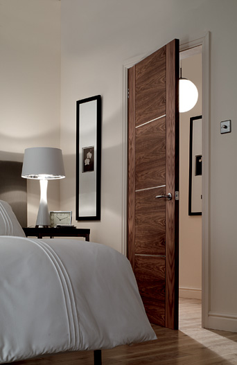 4 Panel V Grooved Walnut Fire Door