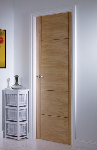 5 Panel V Grooved Pre-Finished Fire Door