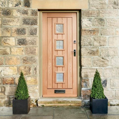 Dordogne Oak Double glazed External Door