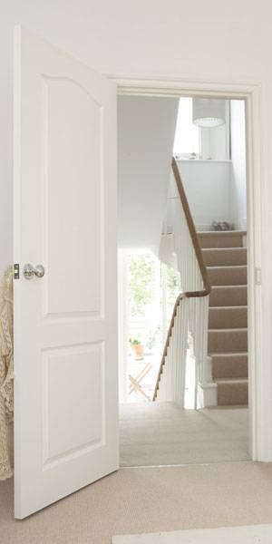 White 2 Panel Arched Top Fire Door