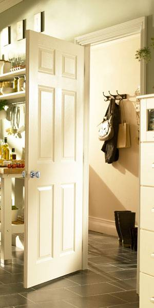 White 6 Panel Grained Fire Door